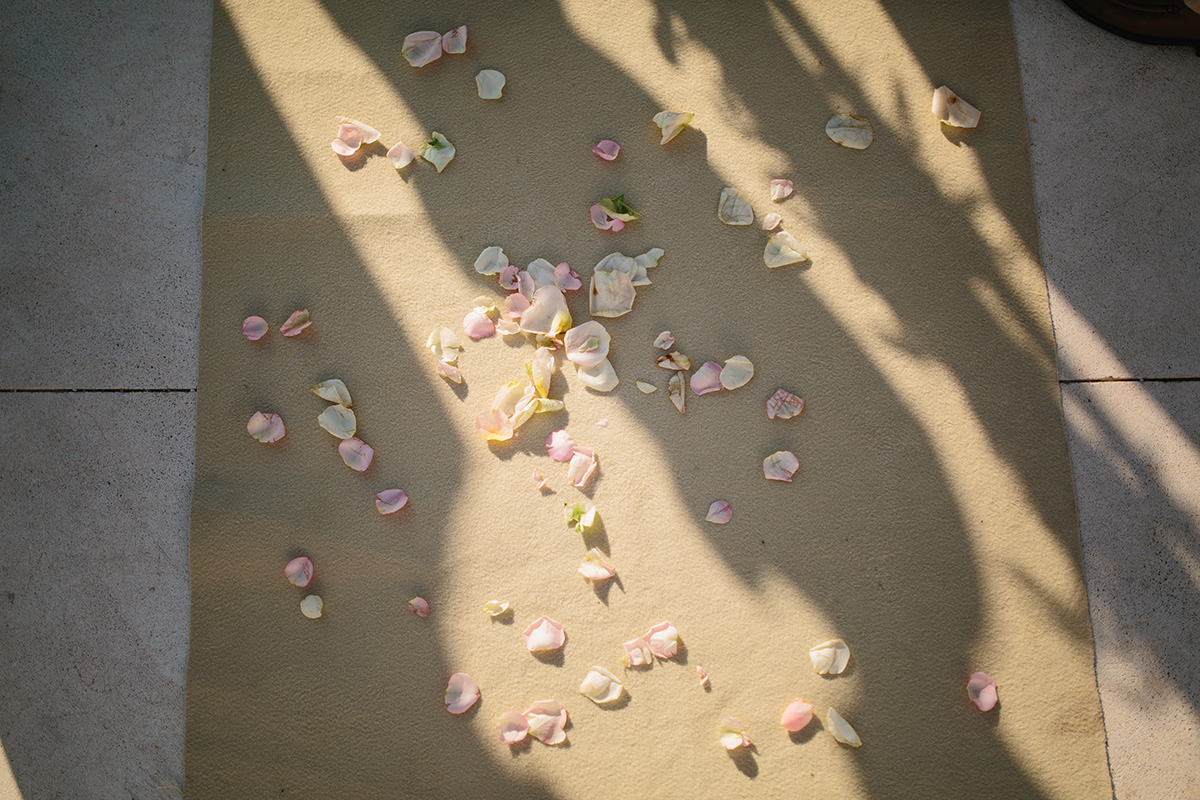 shadows and flower petals rocabella santorini wedding photographer