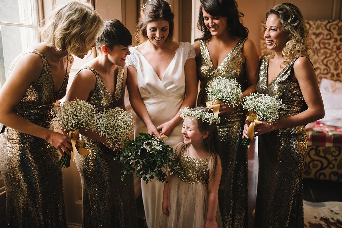 Glittery bridemaids great gatsby style wedding Bellinter House Wedding Photographer