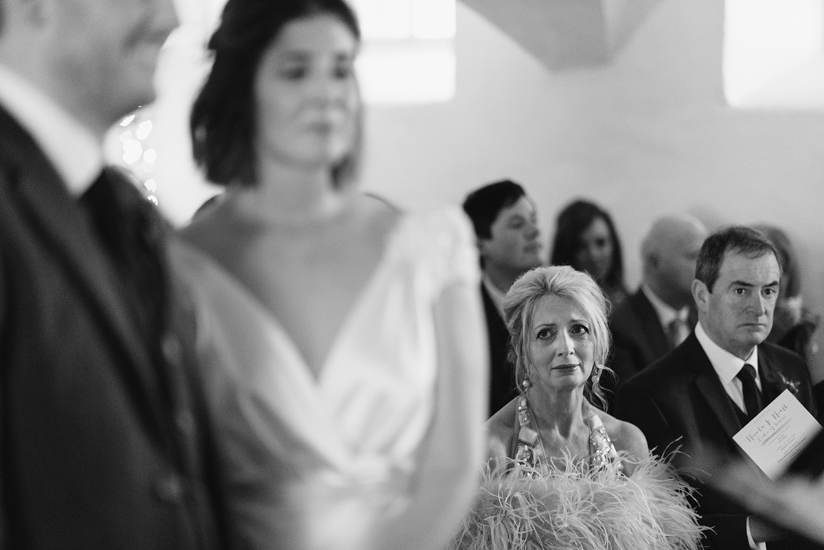 mother of the bride cries watching her daughter Bellinter House Wedding Photographer
