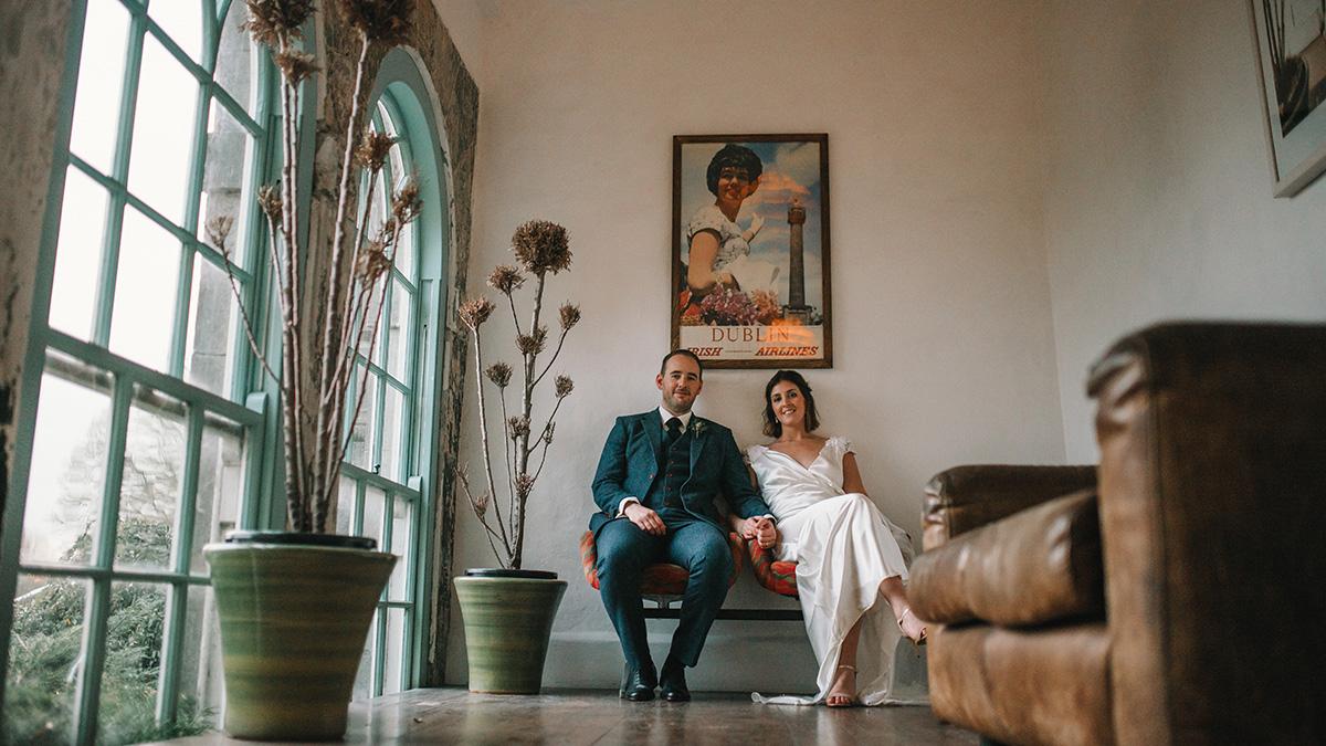 bride and groom portrait Bellinter House Wedding Photographer