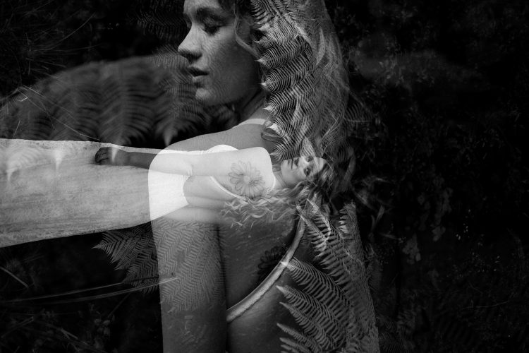 creative black and white double exposure of boho bride