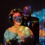 Alternative wedding photographer Belfast city hall stain glass reflections