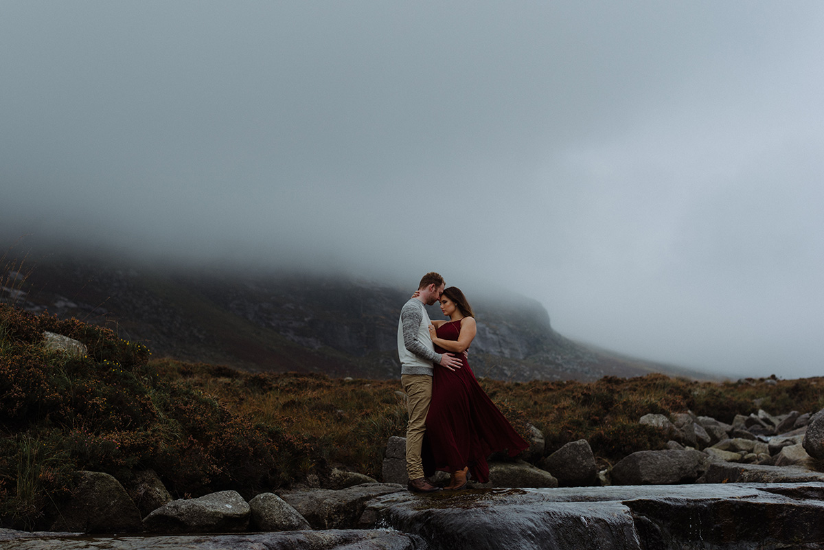 epic couple photo from Slieve Binnian adventure session engagement shoot photographer