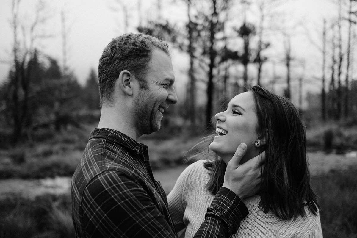 couple happy natural portrait Slieve Binnian engagement shoot photographer northern ireland