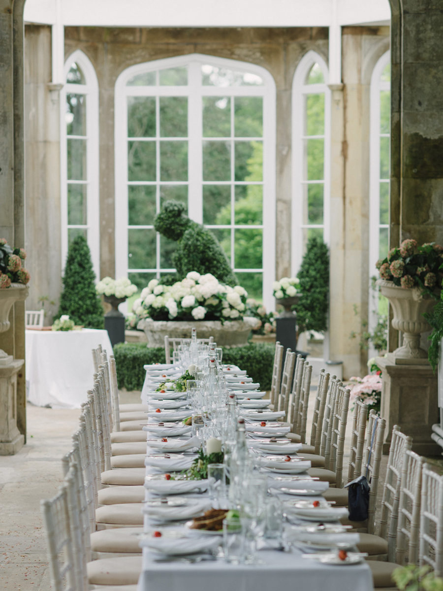 reception venue dinner setup of room decor Crom Castle Wedding Photographer