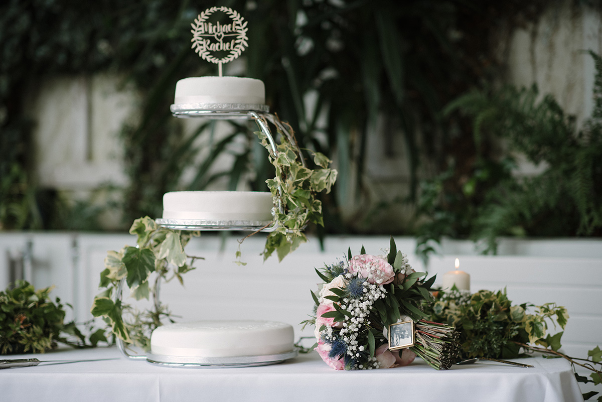 wedding cake and florals Crom Castle Wedding Photographer