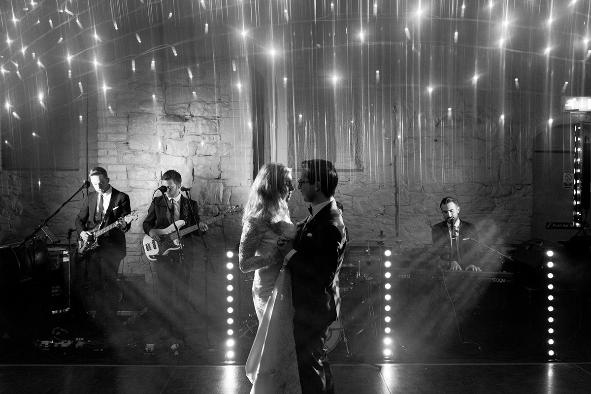 bride and groom dance under the stars Larchfield Estate Wedding Photographer