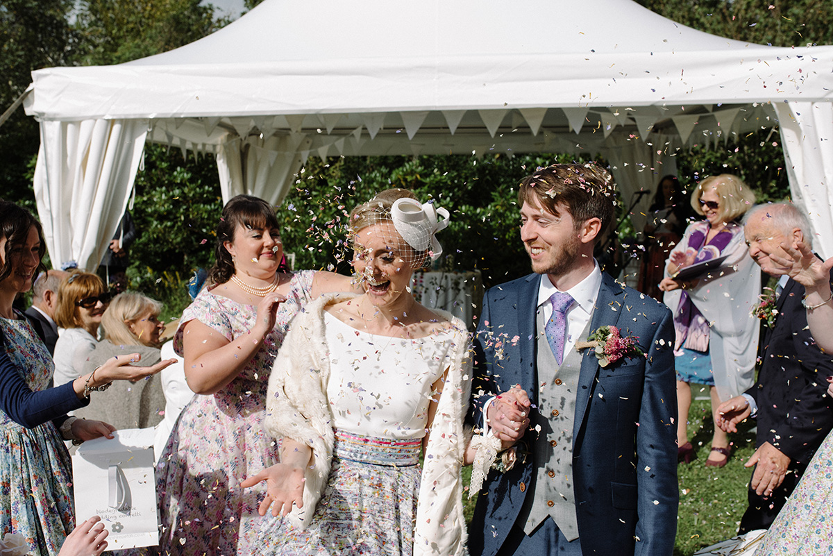 confetti throw at Humanist Wedding Silver Birch House photographer cork