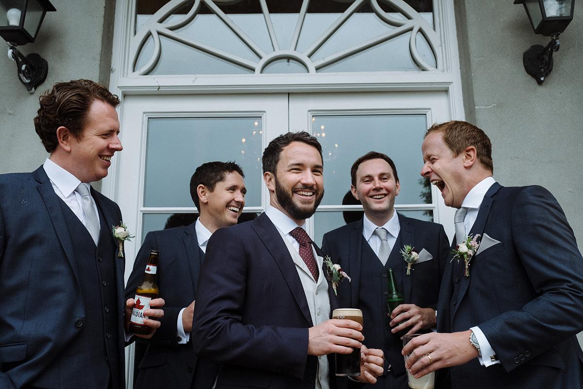 Alternative wedding photographer Clonwilliam House groomsmen