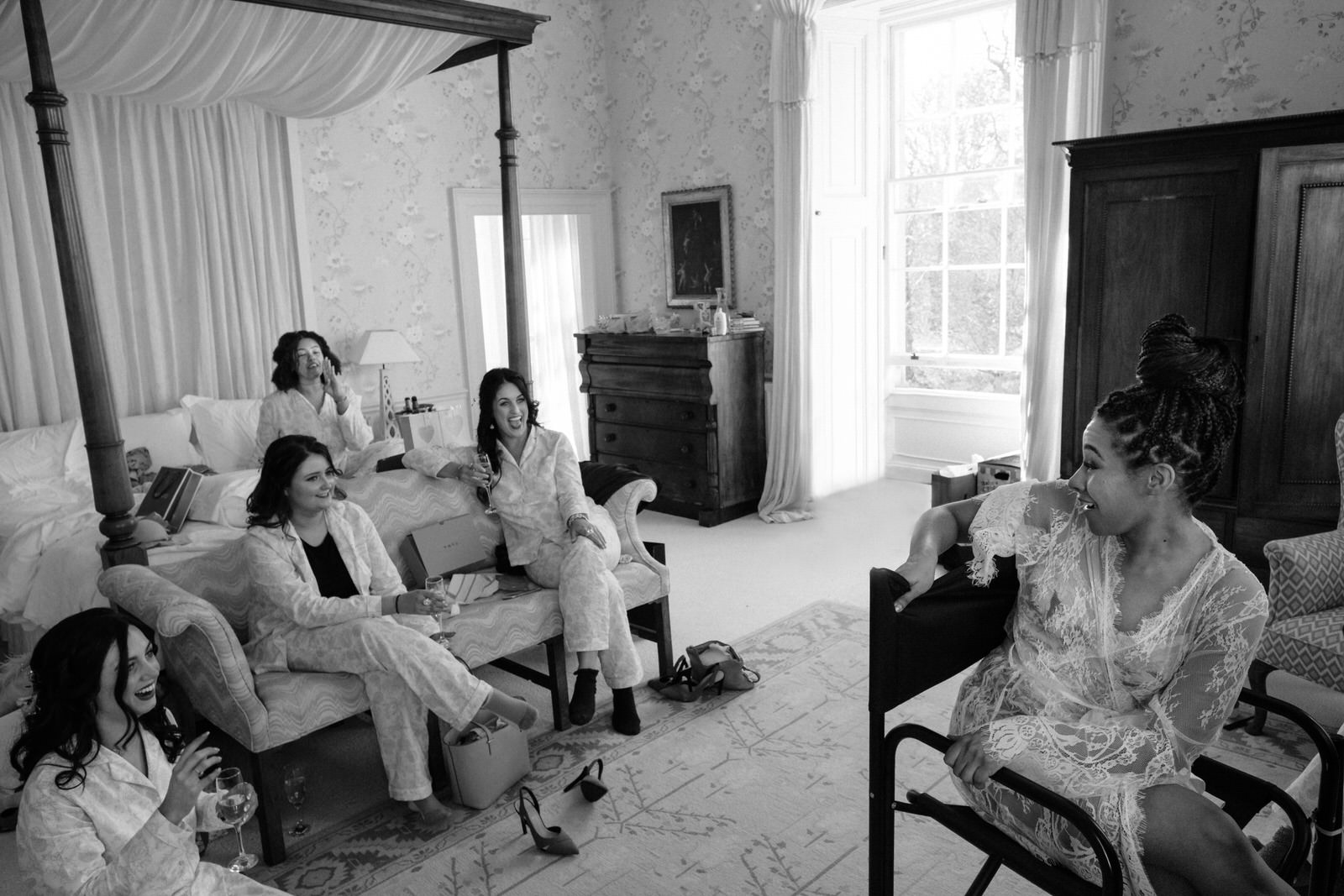 Bride & bridemaids morning laugh drenagh photography