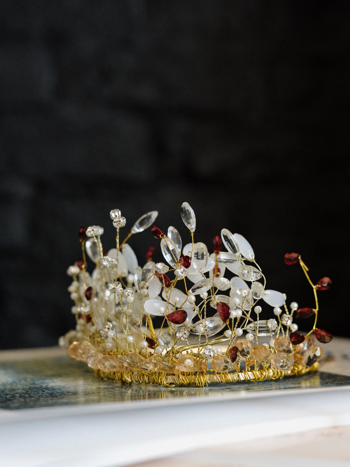 Handmade bridal gem crown drenagh junebug weddings copeland