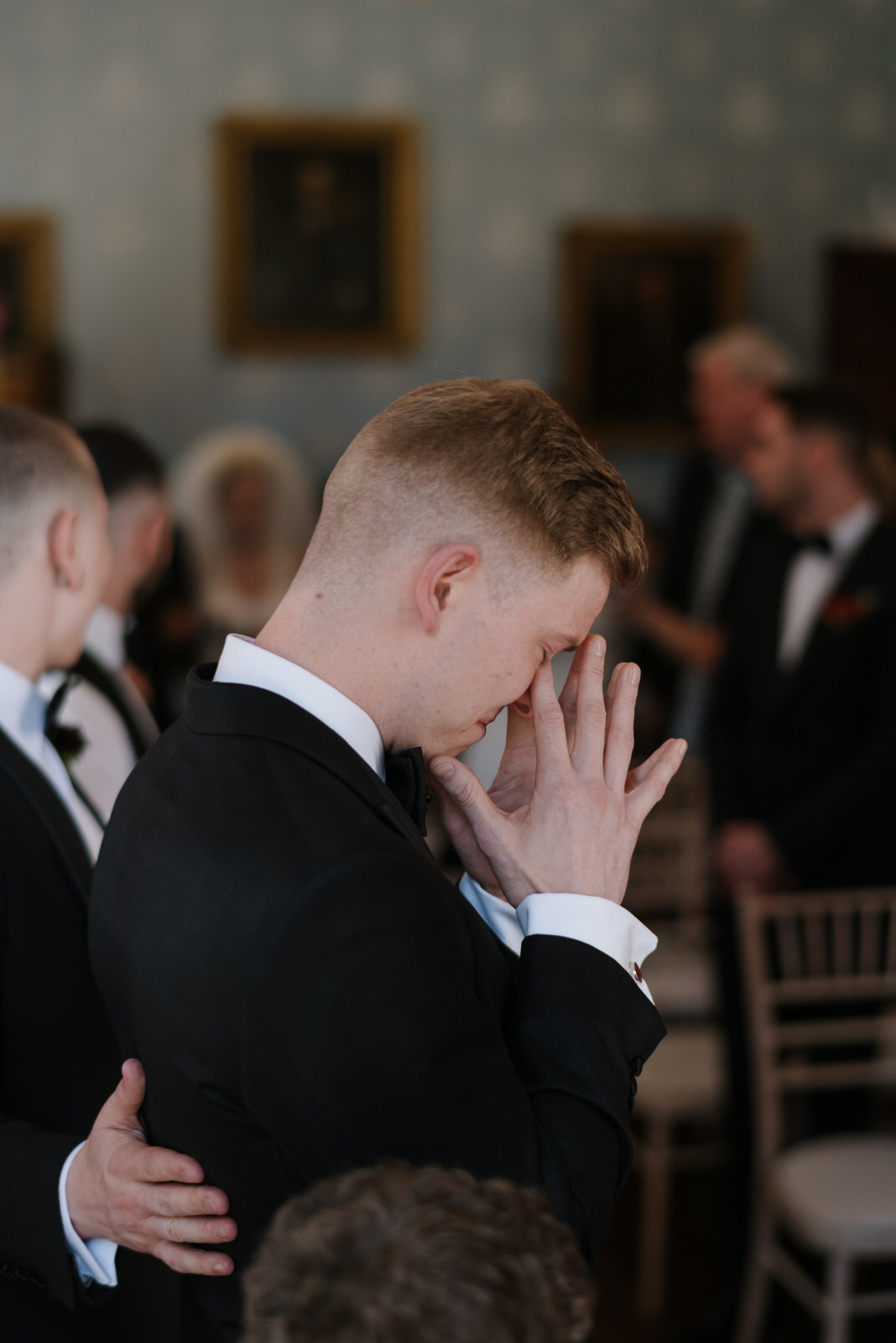 groom reaction tears documentary wedding photographer northern ireland