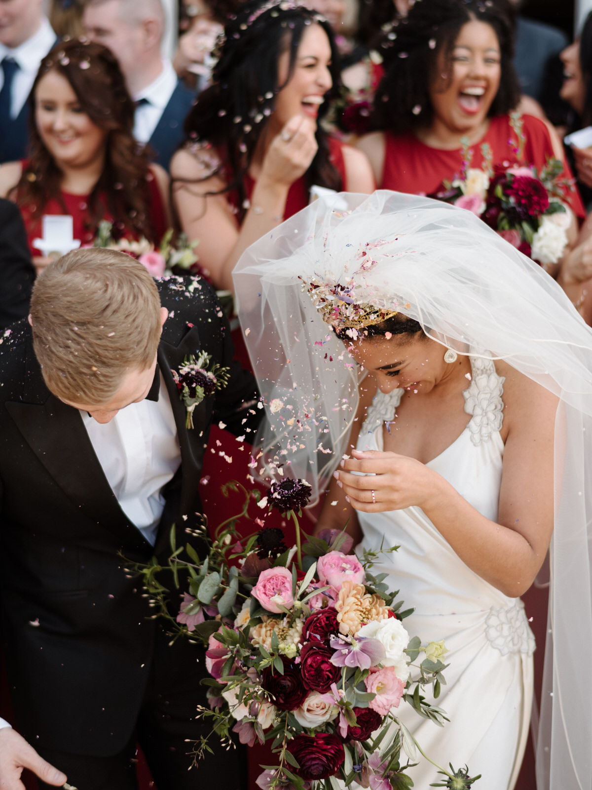 wedding photographer northern ireland drenagh estate alternative rosehip berry flowers