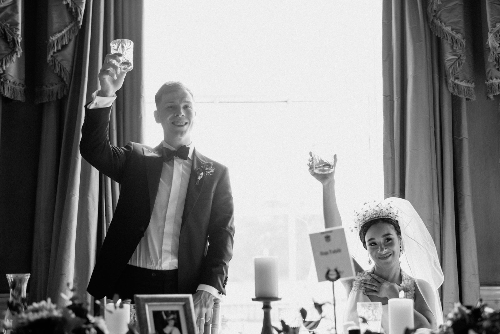 cheers wedding toast drenagh estate photo