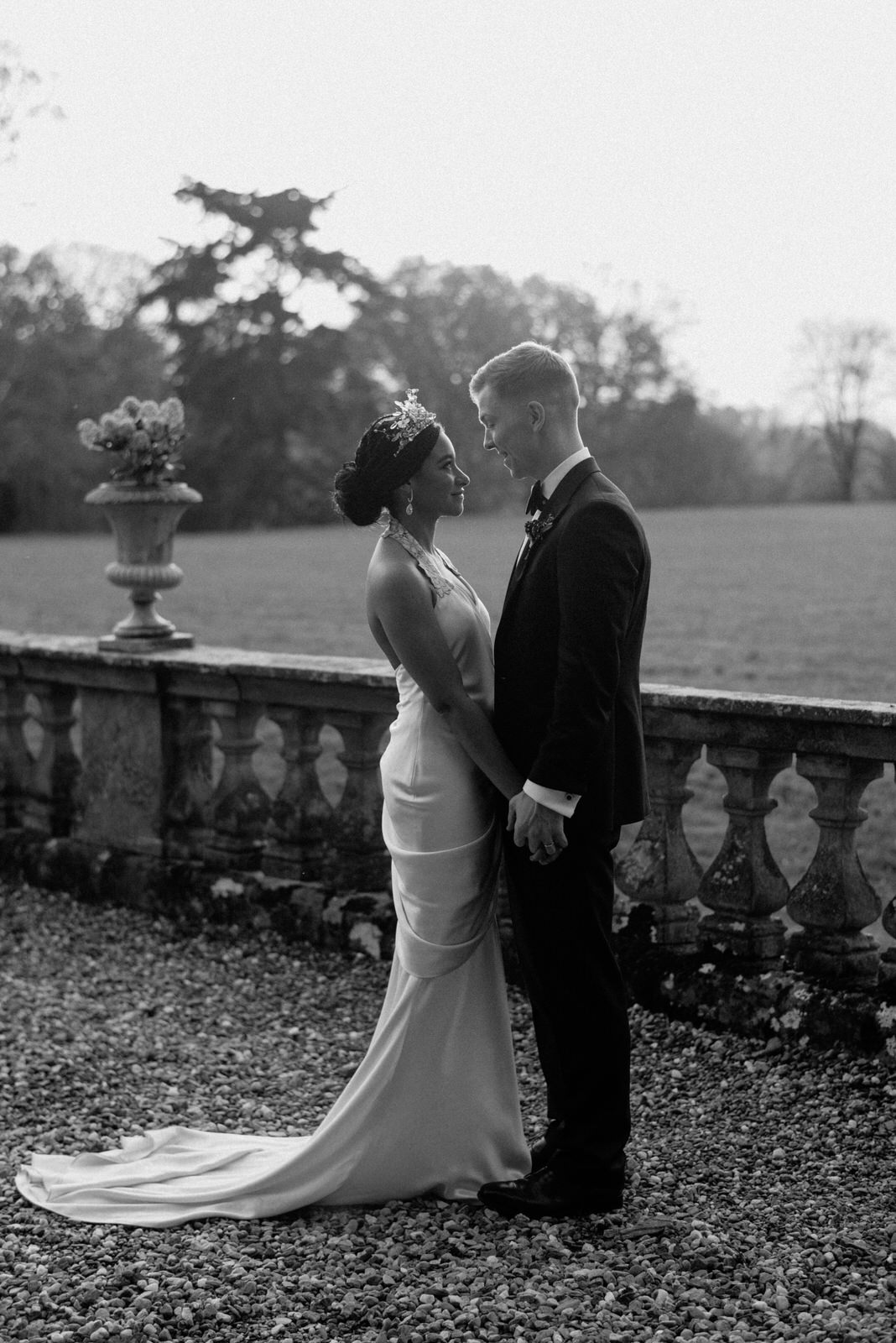 beautiful portrait black and white of bride and groom drenagh wedding photographer northern ireland