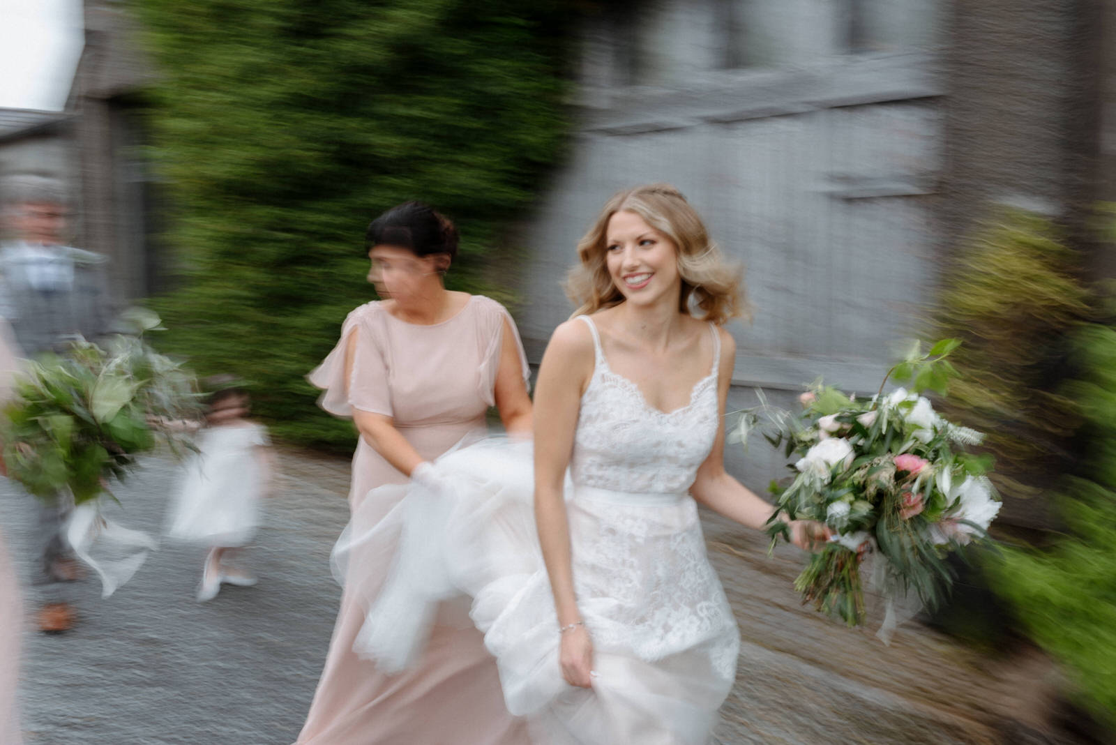 bride running on the way to ceremony lime park wedding photographer bohemian bride wedding