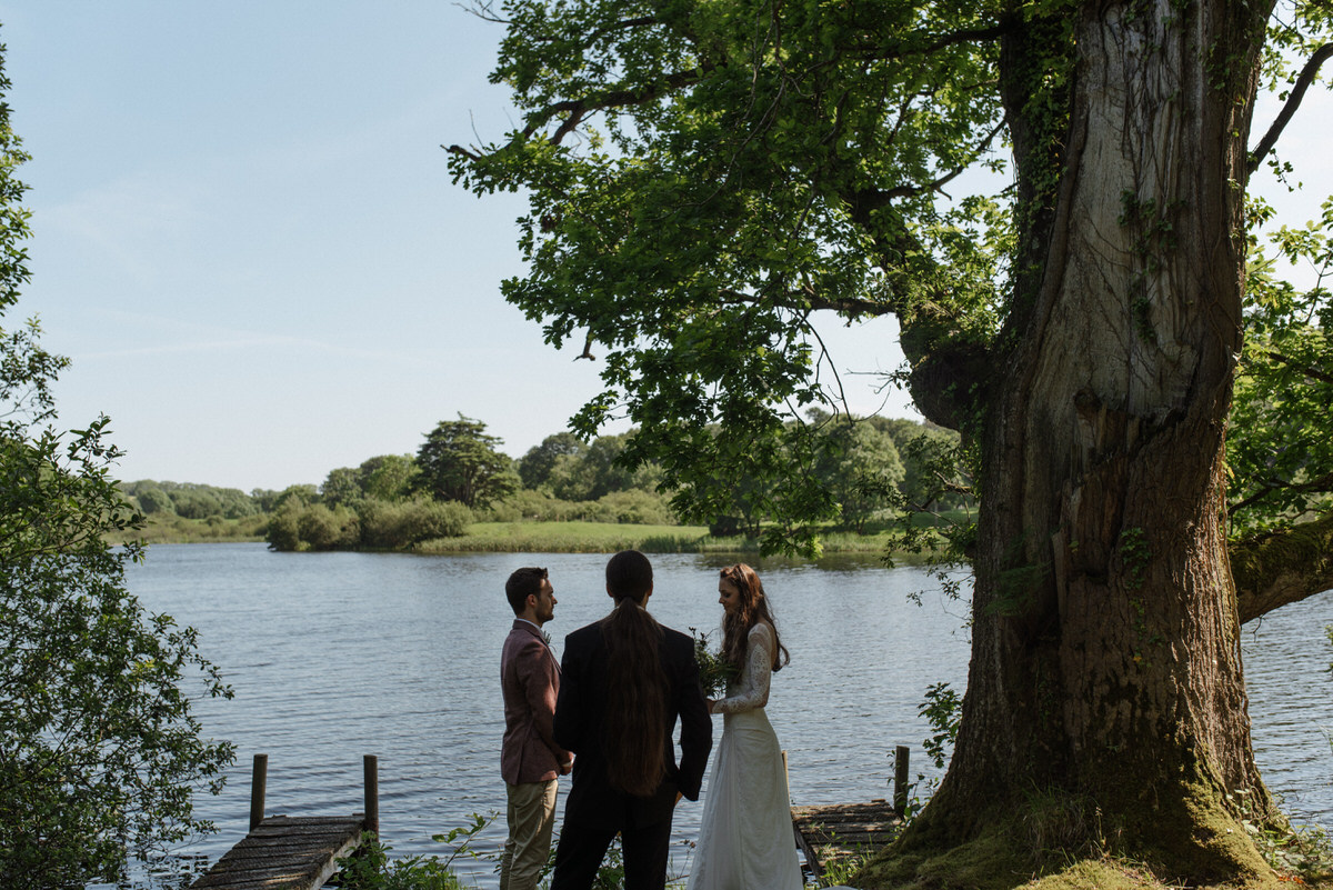 Intimate lakeside wedding ceremony