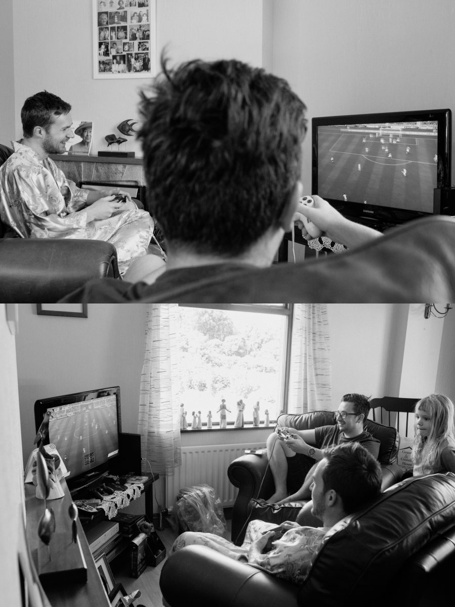 groom playing fifa wedding