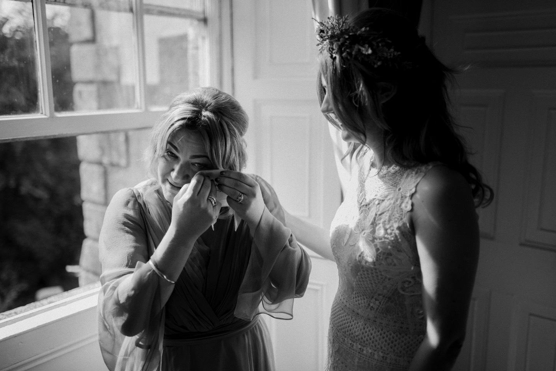 Borris House bride and Mum crying