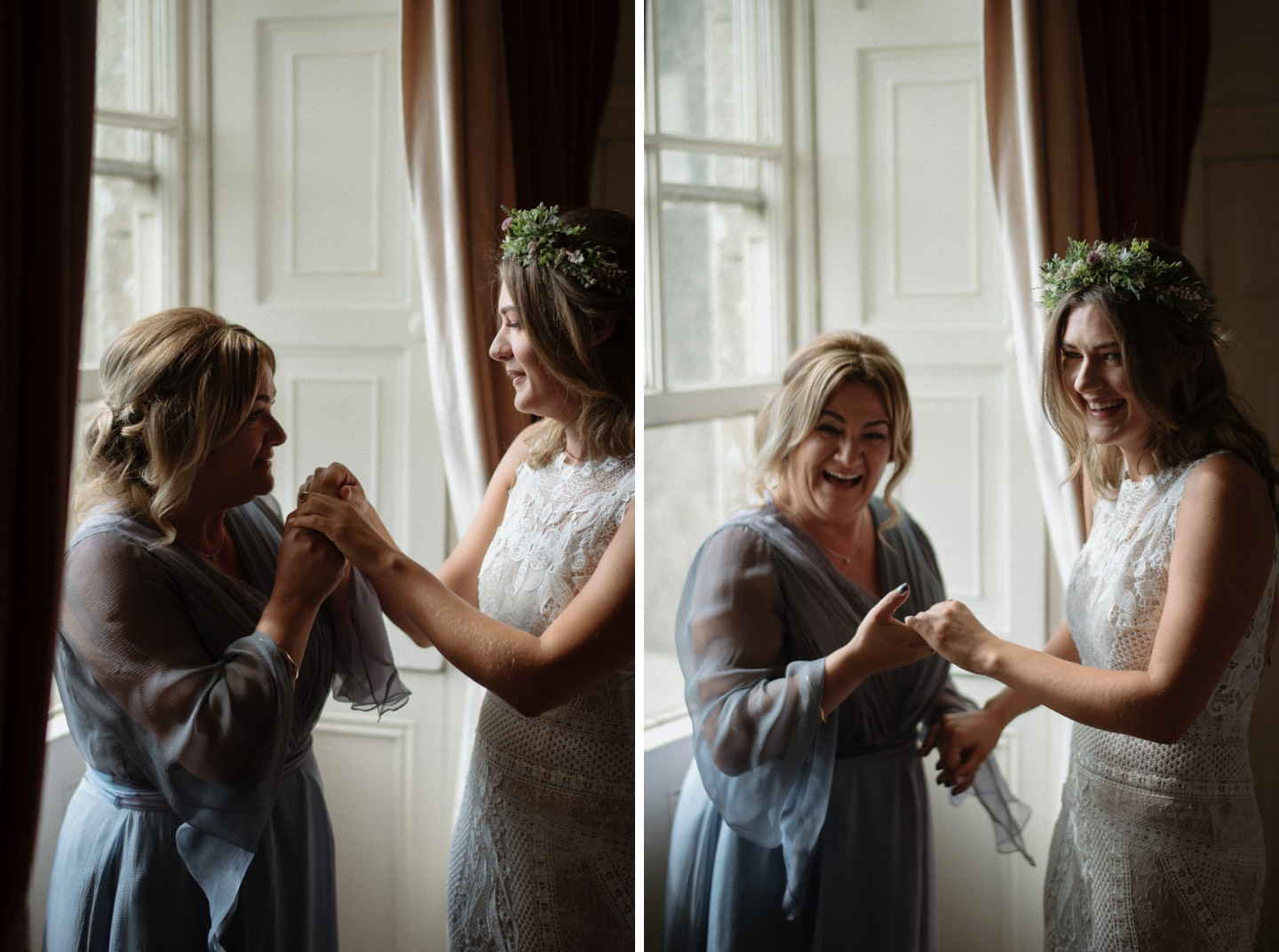 bride with mum after seeing dress alternative Borris house wedding photographer