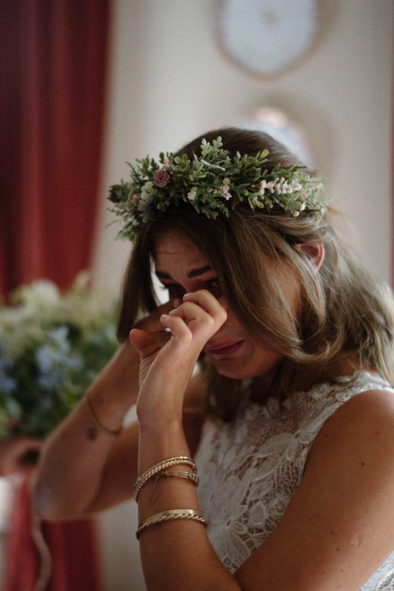 emotional bride in tears borris house wedding photographer