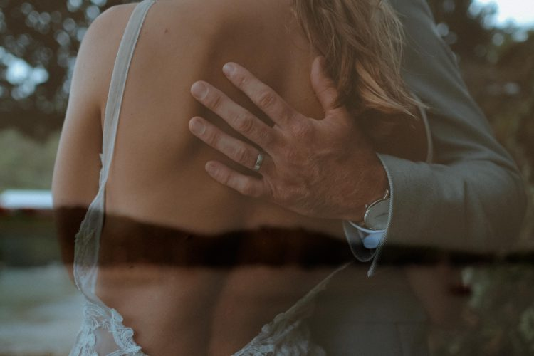 contact double exposure intimate moment between bride and groom waiheke island wedding photographer