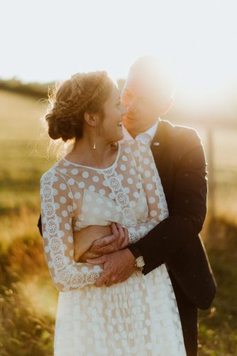 couple portrait as sun sets cornish wedding photographer