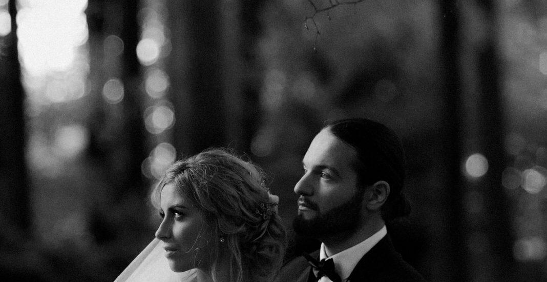 bride groom classic film portrait Alternative Wedding Photographer Galgorm