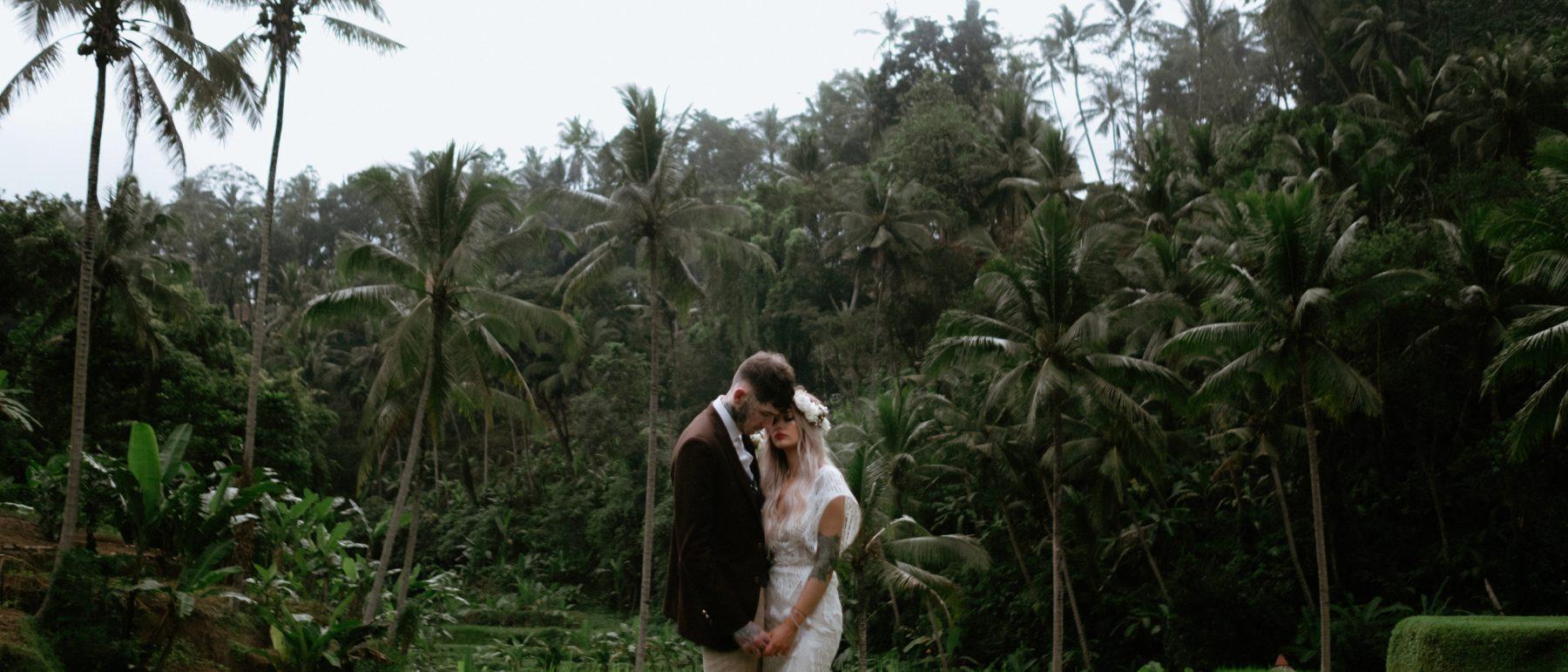 Bride and groom portrait in Ubud, Bali destination wedding photographer