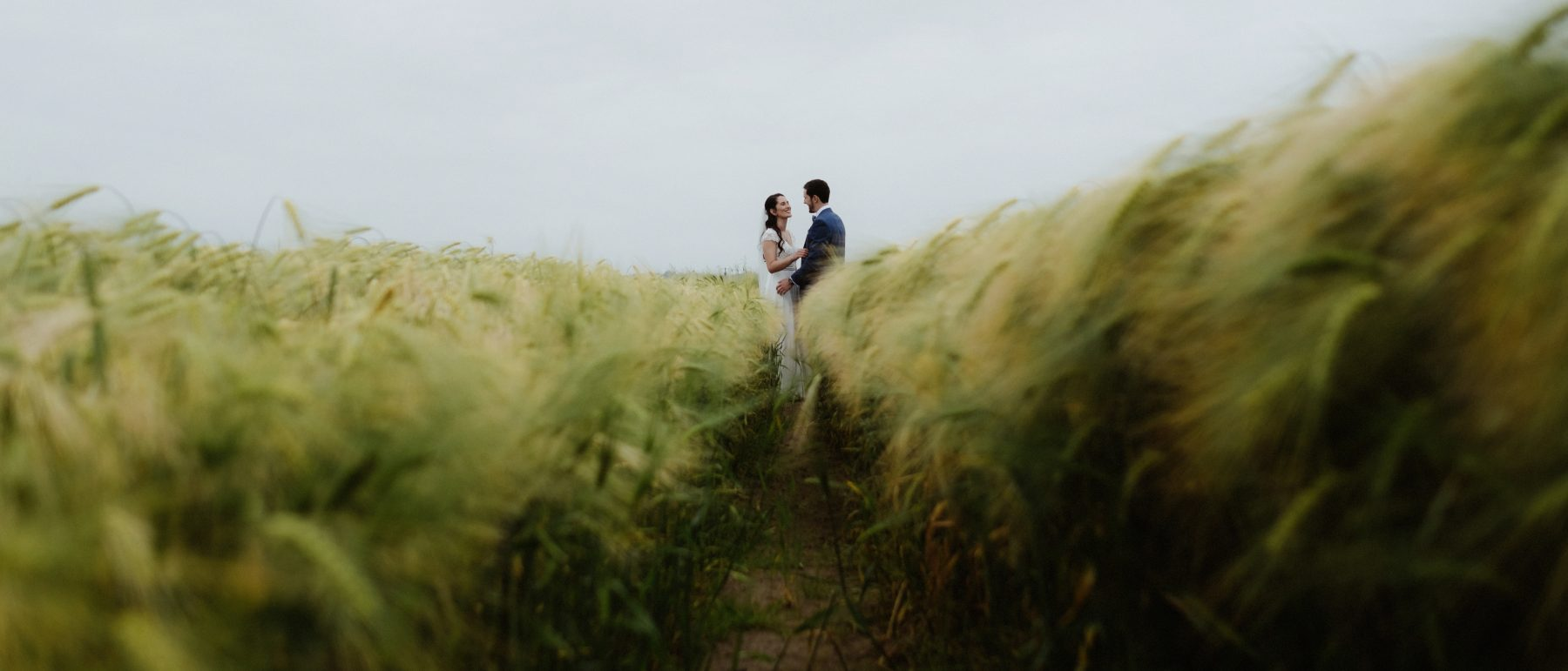 bride and groom portrait in field dreamy wexford wedding at family home