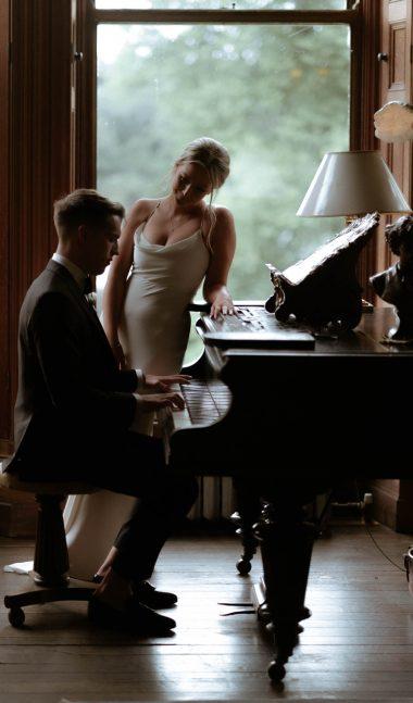piano cinematic portrait of castle leslie wedding photographer sunset